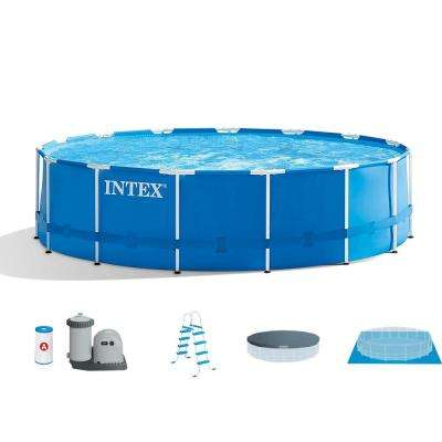 15 ft. x 48 in. Metal Frame Above Ground Swimming Pool Set with Pump Cover  Ladder