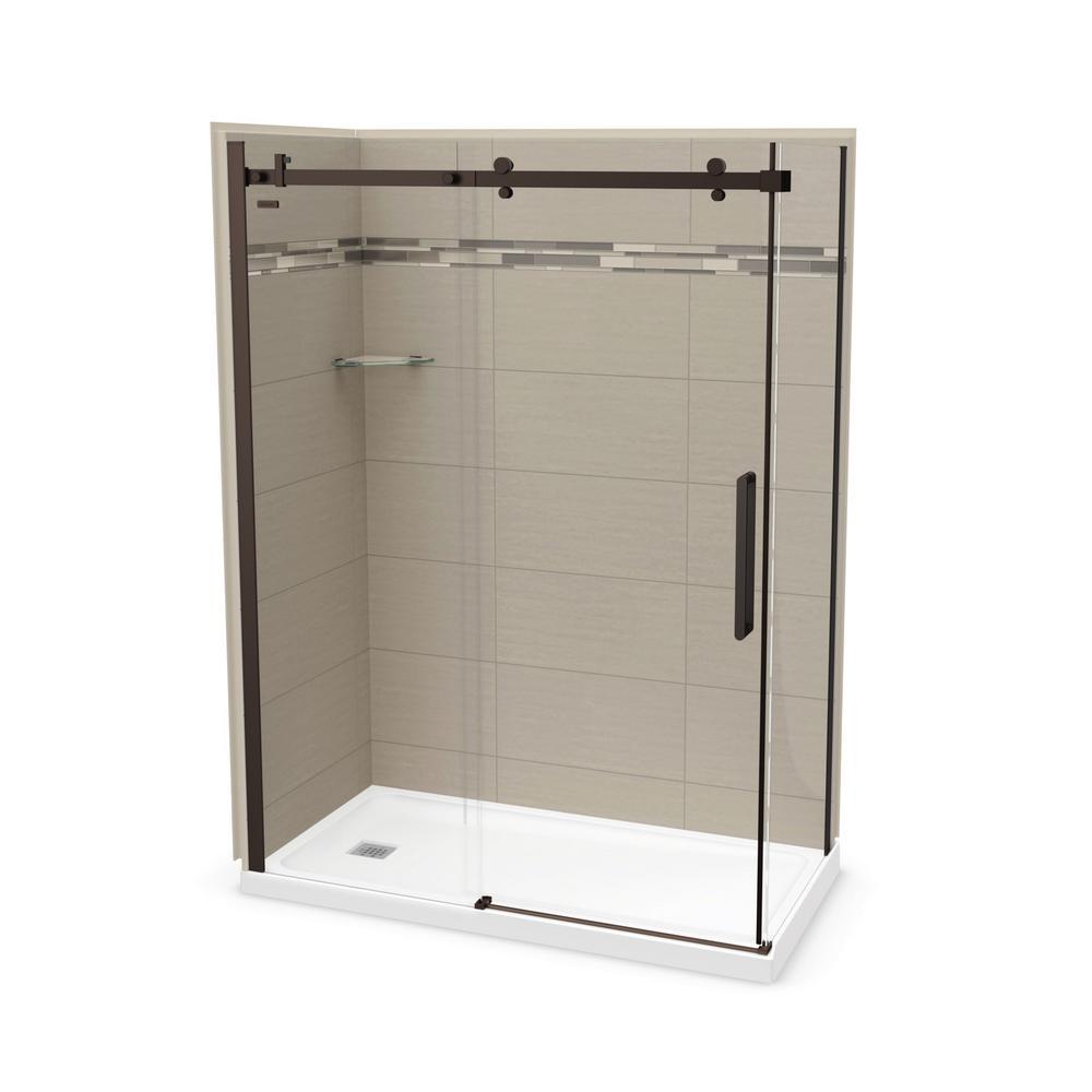 Utile Origin 32 in. x 60 in. x 83.5 in. Left Drain Corner Shower Kit in Greige with Dark Bronze Shower Door