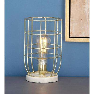 6 in. x 10 in. Modern Cage Body Metal Accent Light in Gold