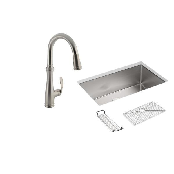 Strive All-in-One Undermount Stainless Steel 29 in. Single Bowl Kitchen Sink with Faucet in Stainless Steel (4-piece)