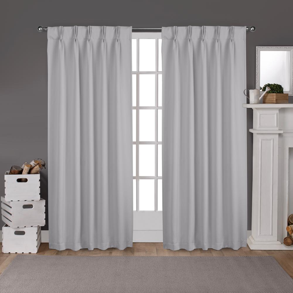 Sateen 30 in. W x 84 in. L Woven Blackout Pinch Pleat Top Curtain Panel in Silver (2 Panels)