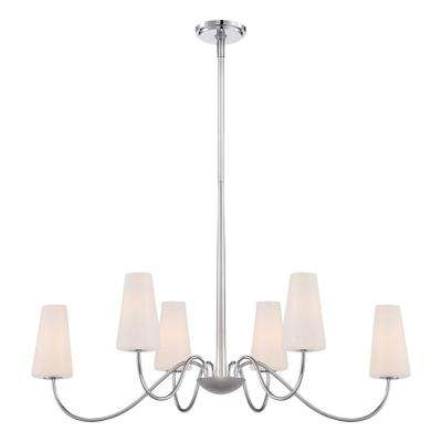 Enza Collection 6-Light Oval Chrome Chandelier with Glass Shade