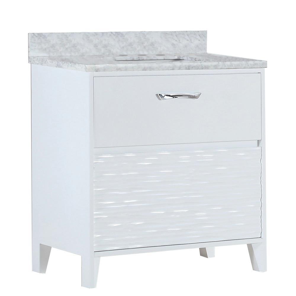 Tustin 30 in. W x 19 in. D x 34 in. H Single Vanity in White with Carrara Marble Vanity Top in White with White Basin