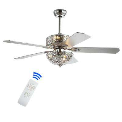 Zara 52 in. Chrome Filigree 6-Light Metal/Wood LED Ceiling Fan With Light