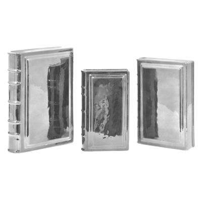 Merveilleux Silver Porcelain Ceramic Books (Set Of 3)