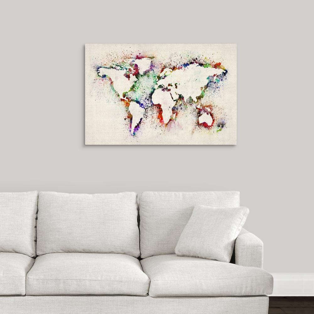 """World Map Splash Outline"" by  Michael Tompsett Canvas Wall Art"