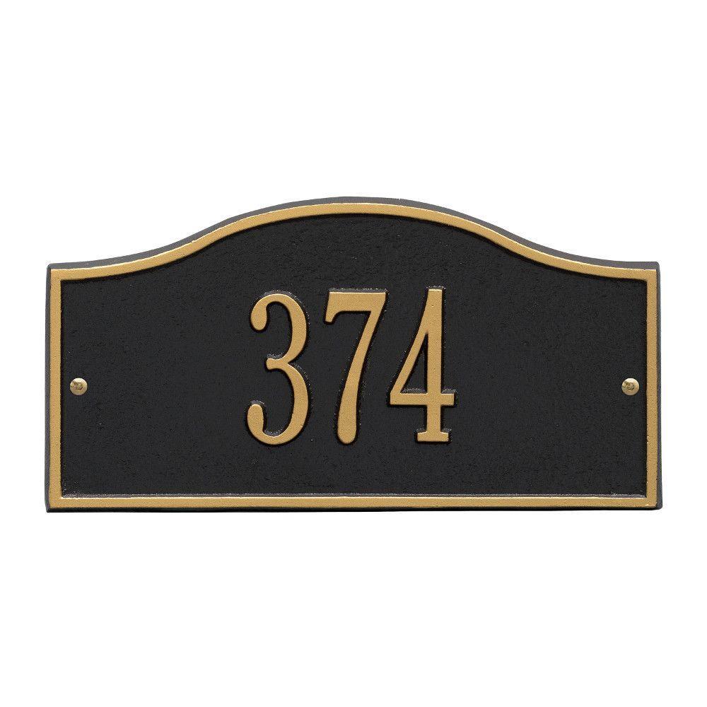 Rolling Hills Rectangular Black/Gold Mini Wall 1-Line Address Plaque