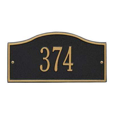 Rolling Hills Rectangular Black/Gold Mini Wall 1-Line Address Plaque
