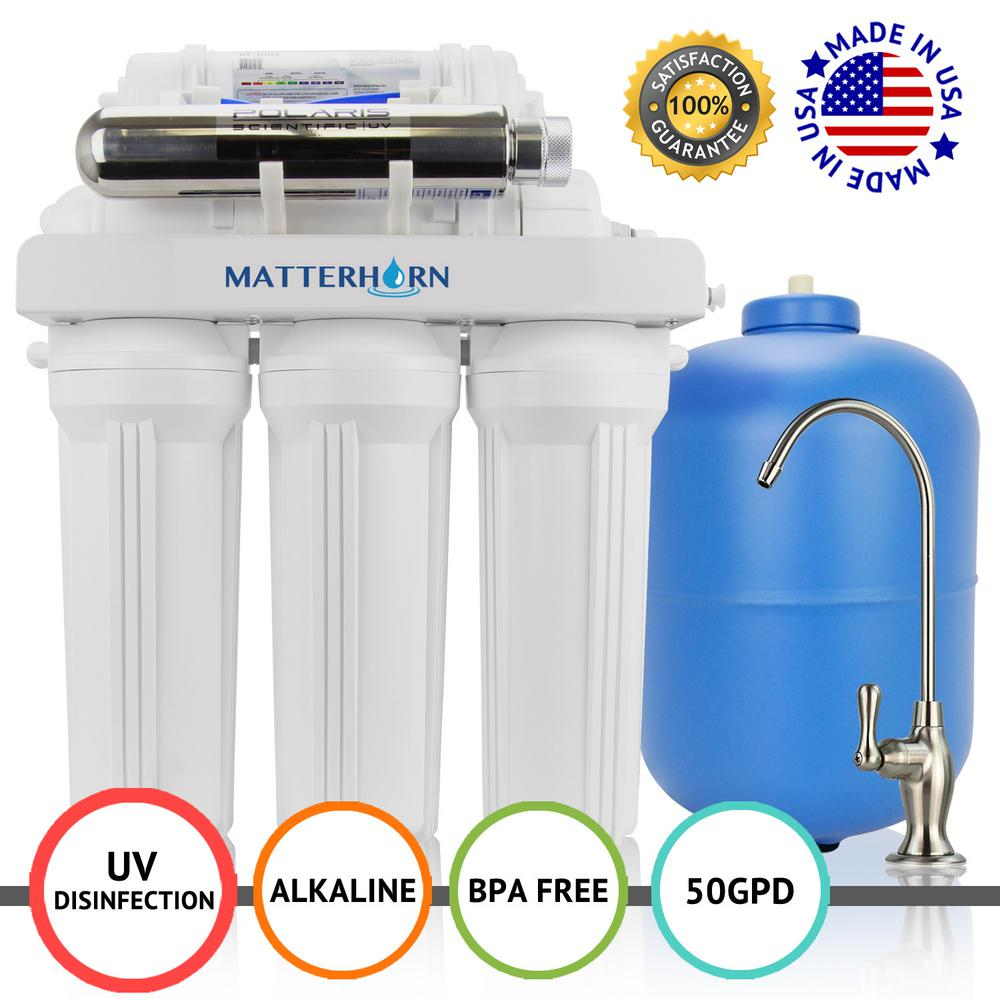Chlorine Reduces Lead Reverse Osmosis Under Sink 7-Stage Drinking Water Filtration System with Alkaline Remineralization Filter CVODA Bacteria Faucet Included