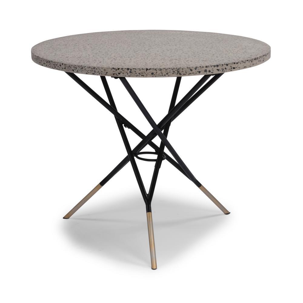 Du Jour Black Round Metal Outdoor/Indoor Bistro Table with Gray Concrete Tile Top