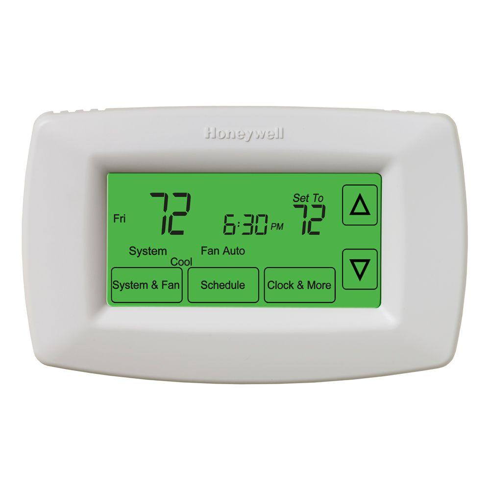 Honeywell Round Heat Cool Thermostat Ct87n The Home Depot Wiring Diagram 7 Day Programmable Touchscreen
