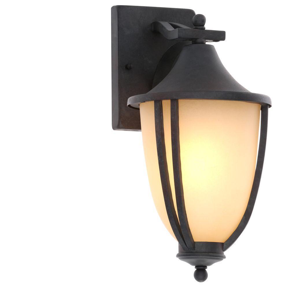 1-Light Rustic Iron Outdoor Wall-Mount Lantern (2-Pack)