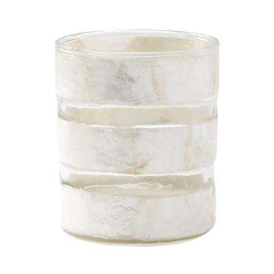 4 in. White Capiz Striped Votive Candle Holder