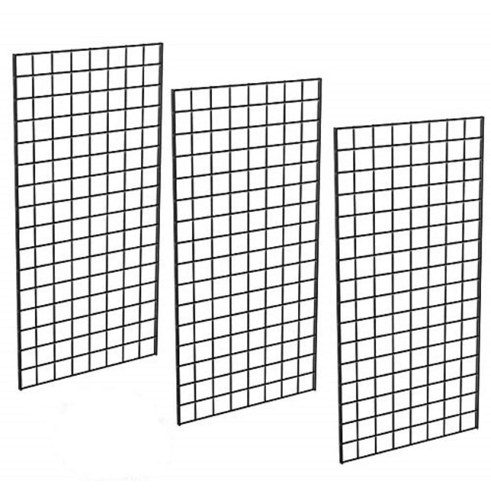 48 in. H x 24 in. W Black Metal Commercial Grade Grid Wall (3-Pack)