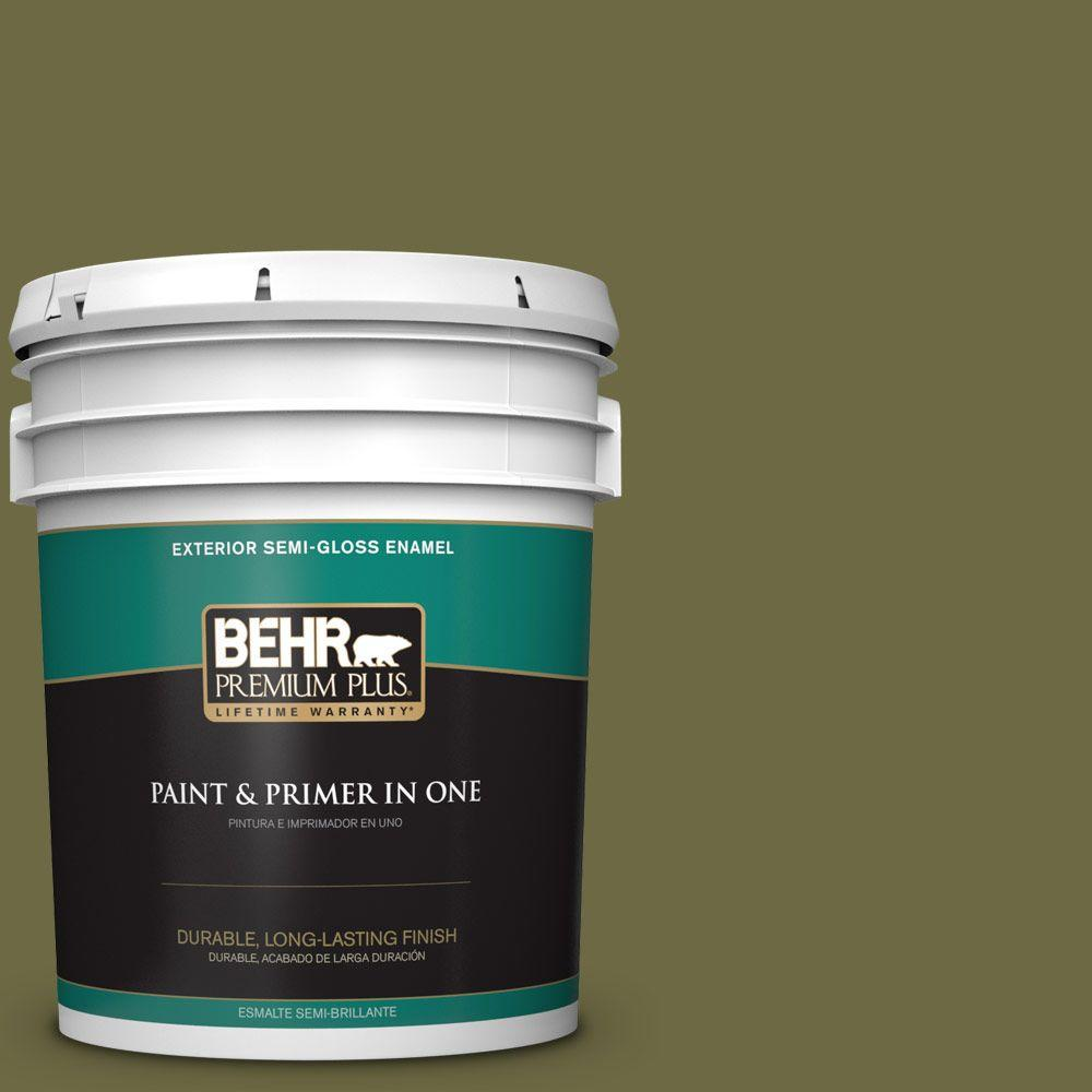 BEHR Premium Plus 5-gal. #HDC-CL-20 Portsmouth Olive Semi-Gloss Enamel Exterior Paint