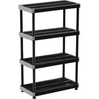 Rimax 57 in. H x 35.80 in. W x 17.70 in. D 4-Shelf Polypropylene Storage Rack in Black