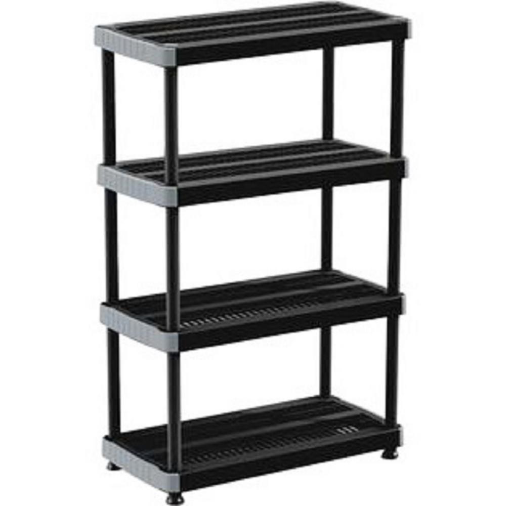 Rimax 57 in. H x 35.80 in. W x 17.70 in. D 4-Shelf Polypropylene Storage Rack in Black