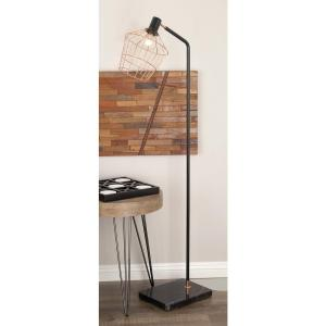 21 inch x 62 inch Modern Jar-Shaped Cage Metal and Marble Floor Lamp with Bulb by