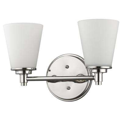 Conti 2-Light Polished Nickel Vanity Light with Etched Glass Shades