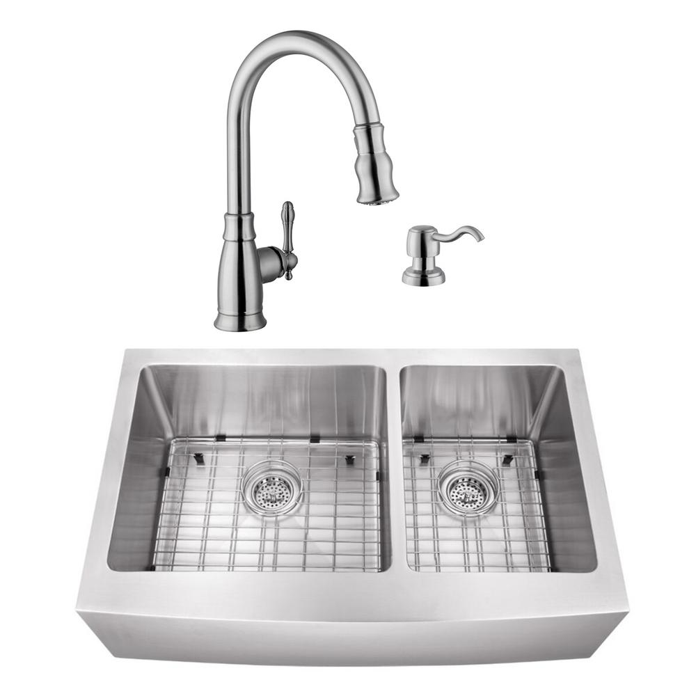 Cahaba Undermount Stainless Steel 35-7/8 in. 60/40 Double Bowl Kitchen Sink with Brushed Nickel Faucet
