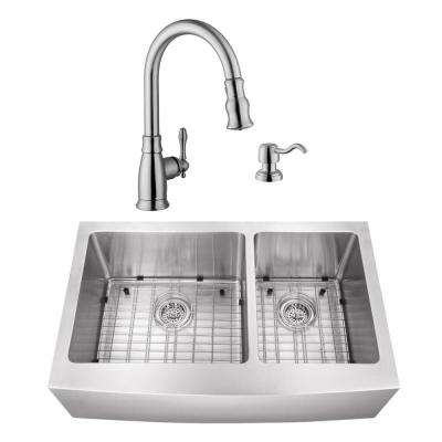 Undermount Stainless Steel 35-7/8 in. 60/40 Double Bowl Kitchen Sink with Brushed Nickel Faucet