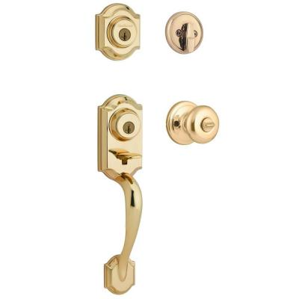 Montara Polished Brass Single Cylinder Door Handleset with Juno Entry Door Knob Featuring SmartKey Security