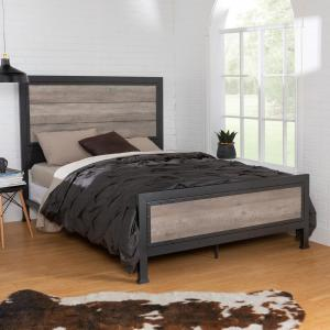 Queen Size Grey Wash Industrial Wood and Metal Bed