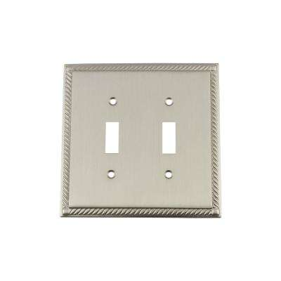 Rope Switch Plate with Double Toggle in Satin Nickel