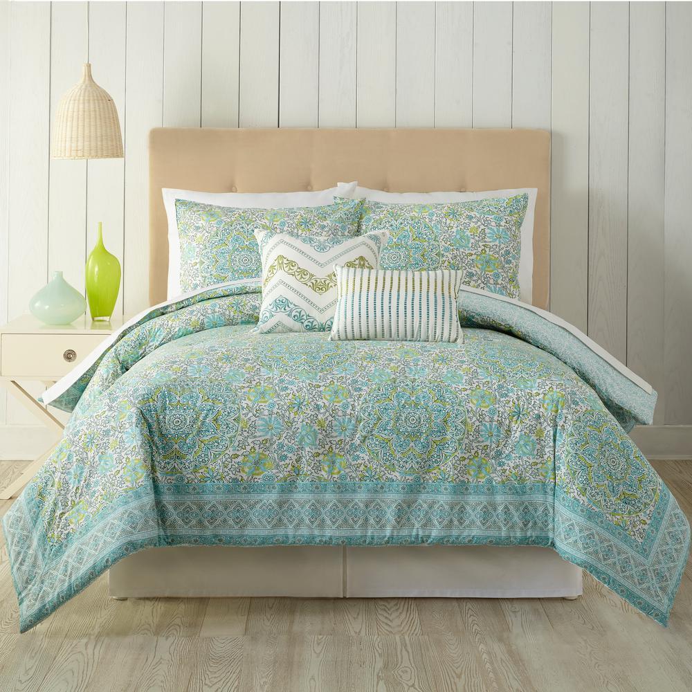 Stamped Indian 5-Piece Floral King Comforter Set