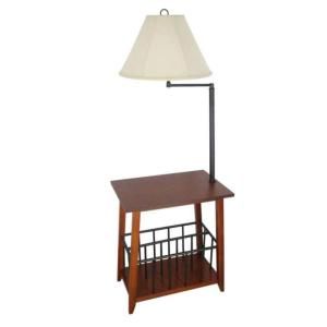 54 inch Mission Oak Magazine Rack Floor Lamp with White Fabric Bell Shade by