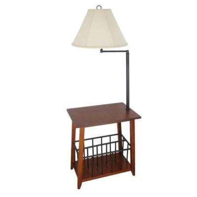 54 in. Mission Oak Magazine Rack Floor Lamp with White Fabric Bell Shade