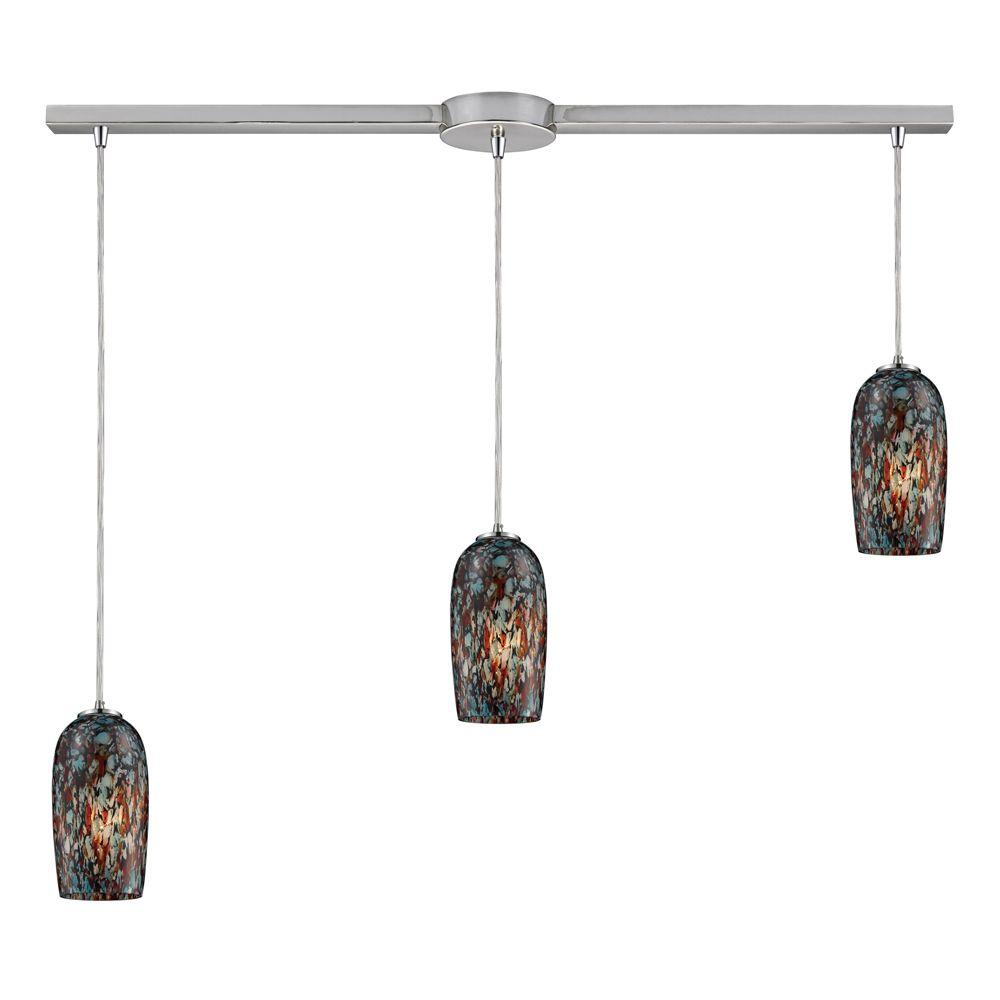 Collage 3-Light Satin Nickel Ceiling Mount Pendant