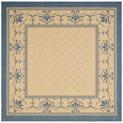 Courtyard Natural/Blue 8 ft. x 8 ft. Indoor/Outdoor Square Area Rug