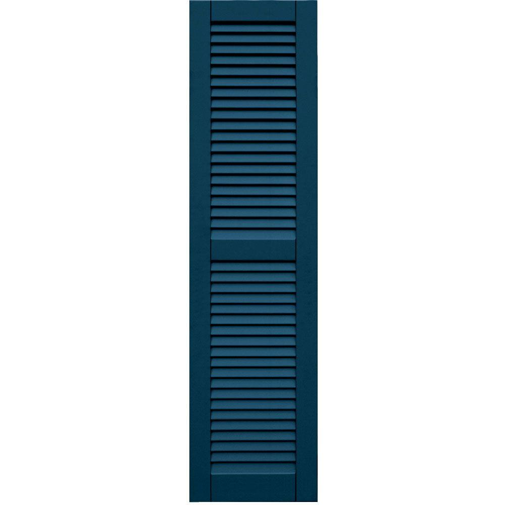 Winworks Wood Composite 15 in. x 59 in. Louvered Shutters Pair #637 Deep Sea Blue
