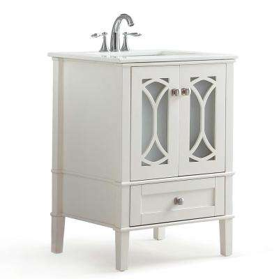 Denning 24 in. Bath Vanity in Pure White with Extra Thick Engineered Quartz Marble Vanity Top in White with White Basin