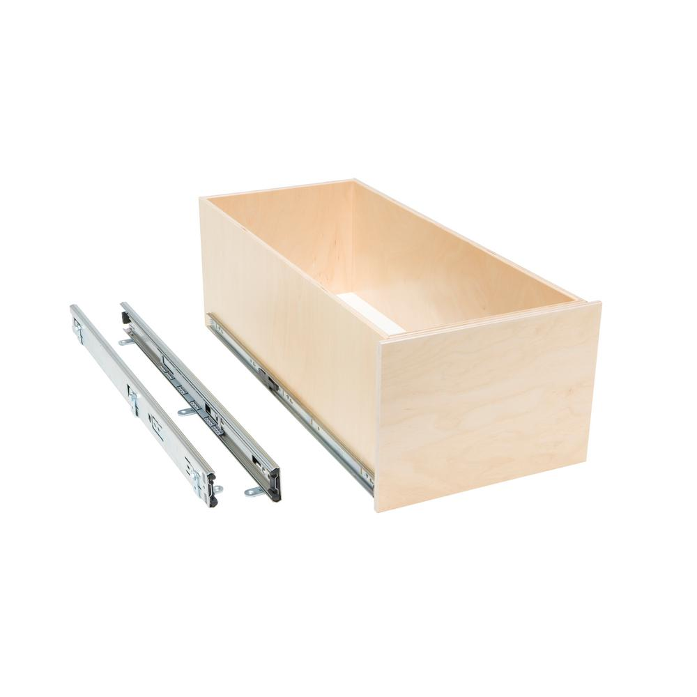 Slide-A-Shelf Made-To-Fit 8 in. Tall Box Slide-Out Shelf, 6 in. to 30 in. Wide, Full-Extension with Soft Close, Poly-Finished Birch