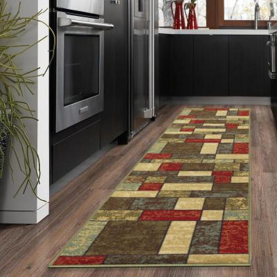 Ottohome Collection Contemporary Boxes Design Multi 2 ft. x 5 ft. Runner Rug
