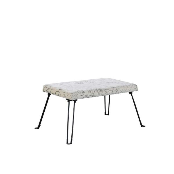 17 in. Old World Ivory Backless Accent Seat with Foldable Legs