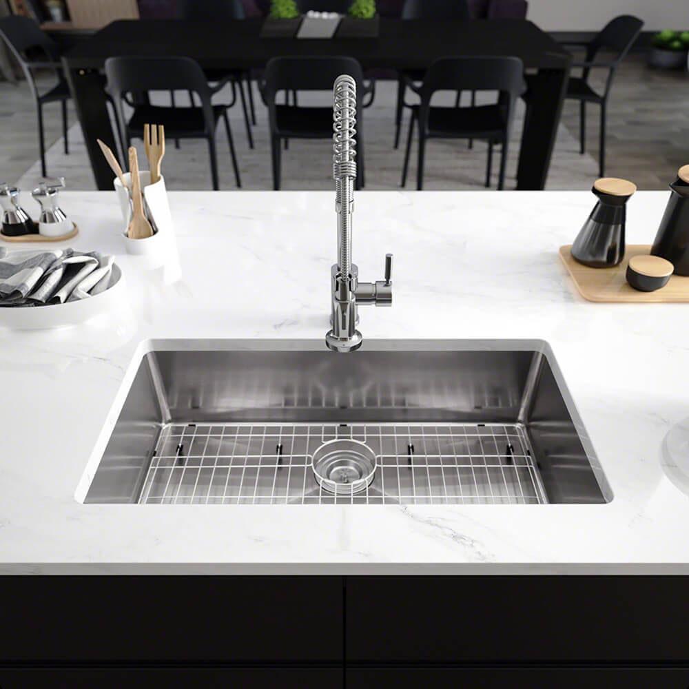 Undermount Stainless Steel 31-1/4 in. Single Bowl Kitchen Sink