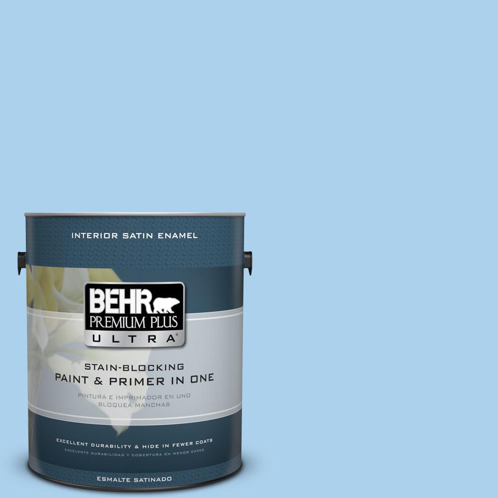 1 gal. #560A-3 Utah Sky Satin Enamel Interior Paint and Primer