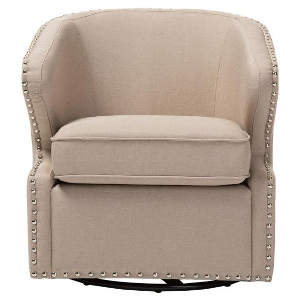 Baxton Studio Finley Mid-Century Beige Fabric Upholstered Accent Chair 28862-6950-HD