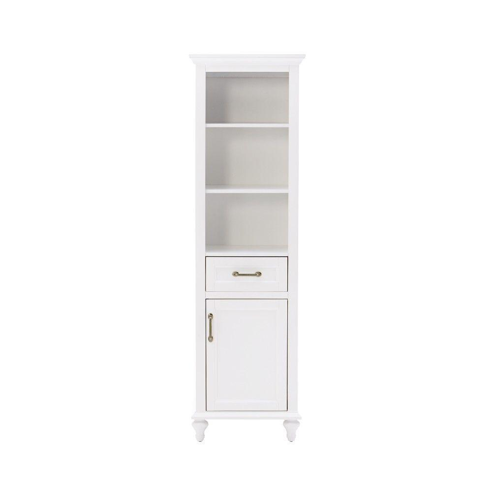 Home Decorators Collection Charleston 20 In. W Bathroom Linen Storage  Cabinet In White