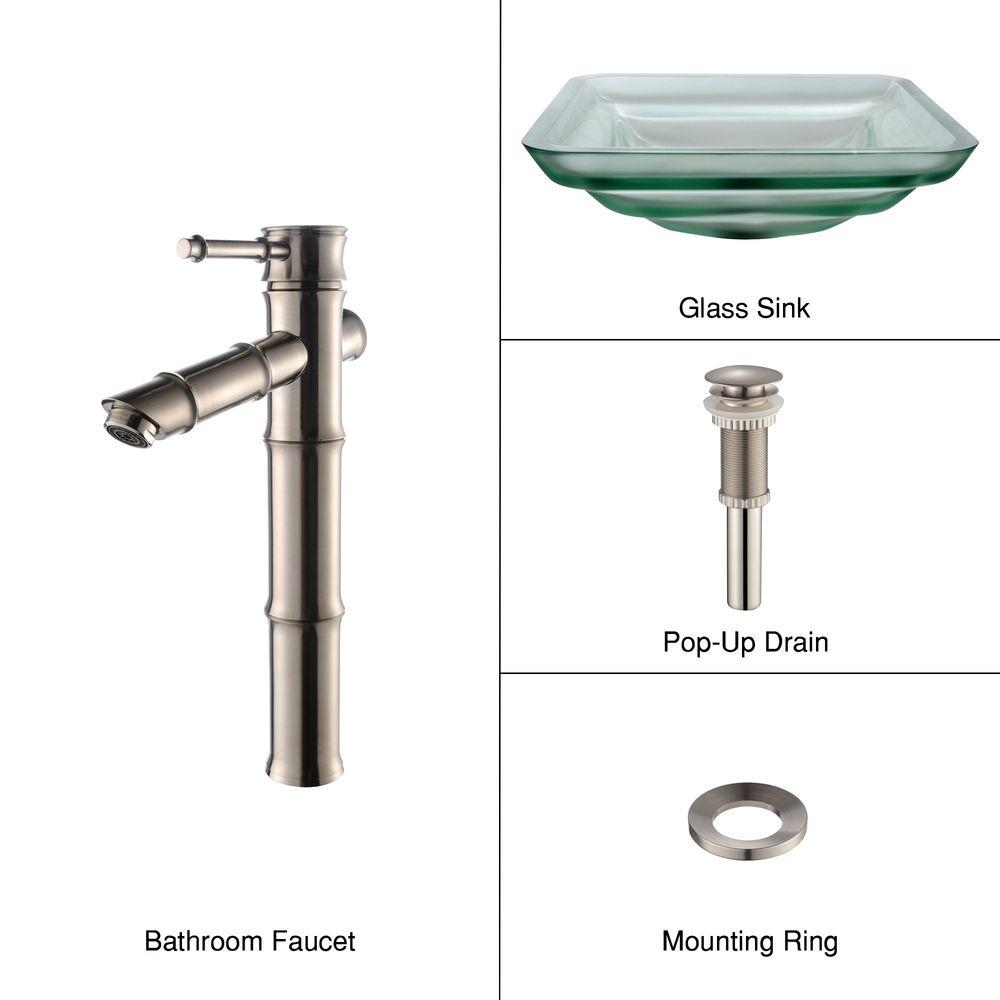 KRAUS Oceania Glass Bathroom Sink in Frosted with Single-Handle Low-Arc Bamboo Faucet in Satin Nickel-DISCONTINUED