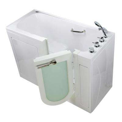 Lounger 60 in. Acrylic Walk-In Air Bath and Micro Bubble Bathtub in White, Thermostatic Faucet Set, LHS 2 in. Dual Drain