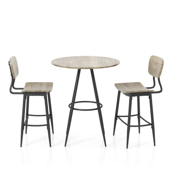 Melsin 3-Piece Gray and Bronze Dining Set