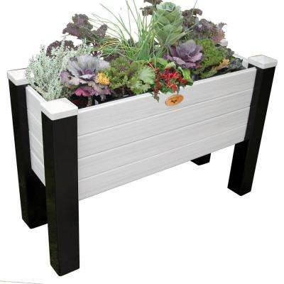 18 in. x 48 in. x 32 in. Maintenance Free Black and Gray Vinyl Elevated Garden Bed
