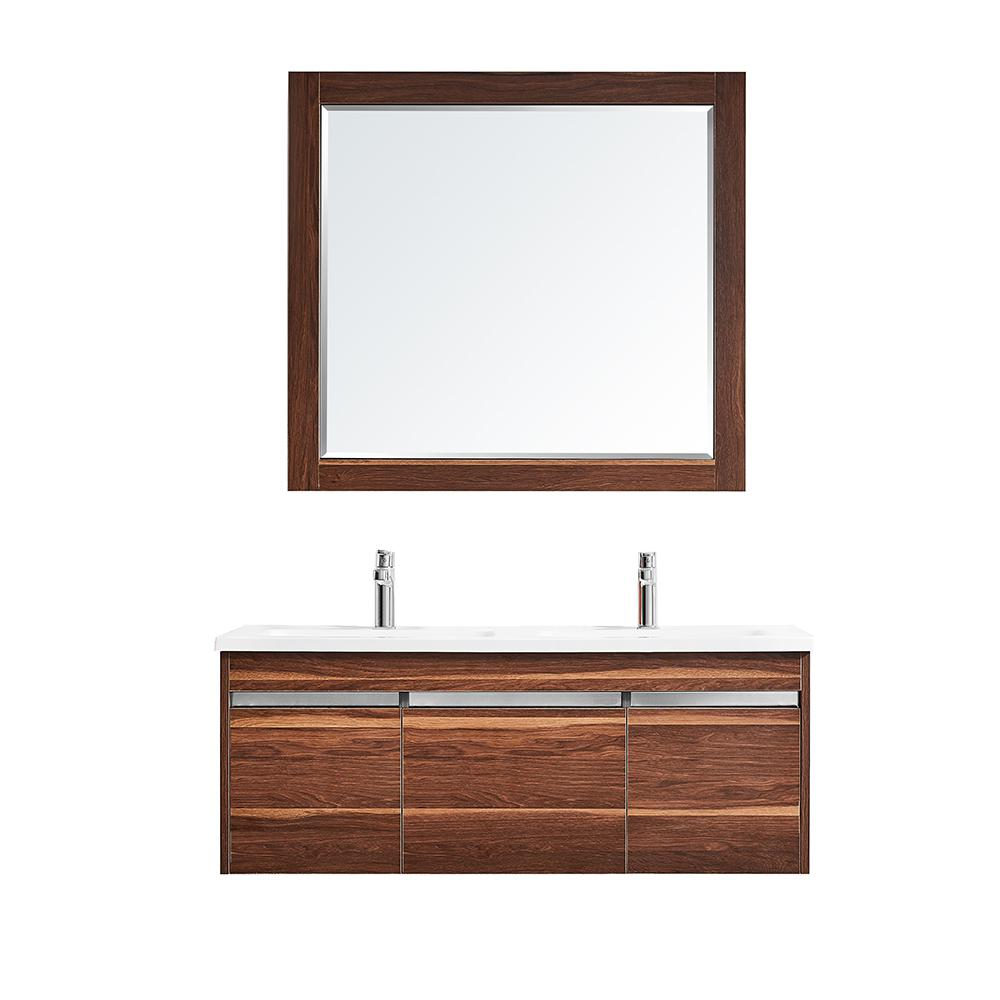 ROSWELL Thomas 48 in. W x 18 in. D Bath Vanity in Walnut with Quartz Vanity Top in White with White Basins and Mirror