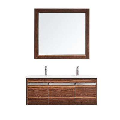 Thomas 48 in. W x 18 in. D Bath Vanity in Walnut with Quartz Vanity Top in White with White Basins and Mirror