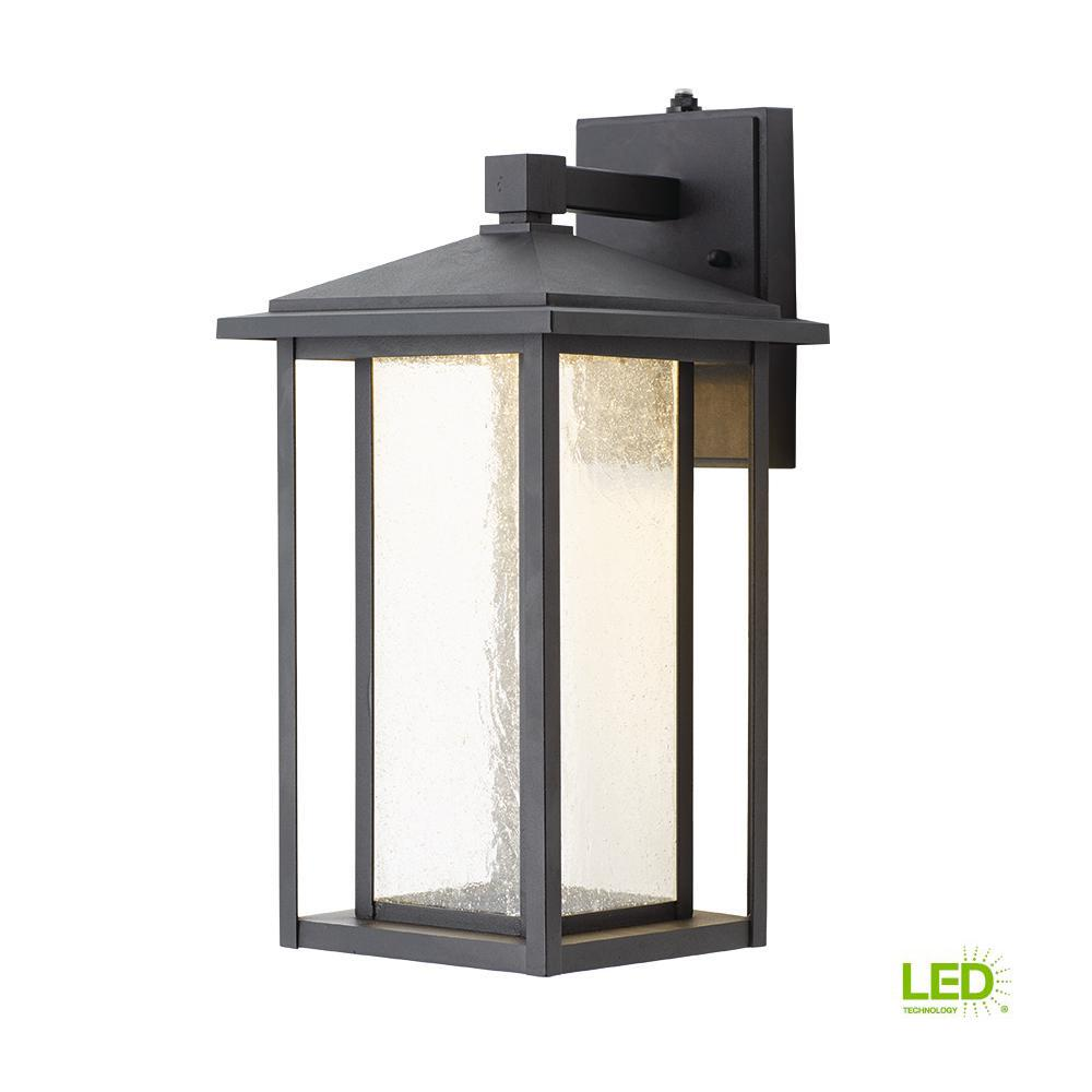Home Decorators Collection Black Medium Outdoor Seeded Glass Dusk To Dawn  Wall Lantern