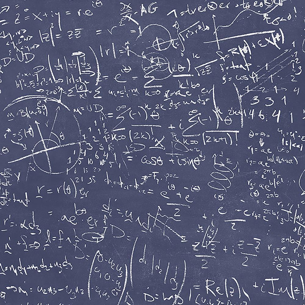 Brewster Chalkboard Navy Equation Wallpaper Sample